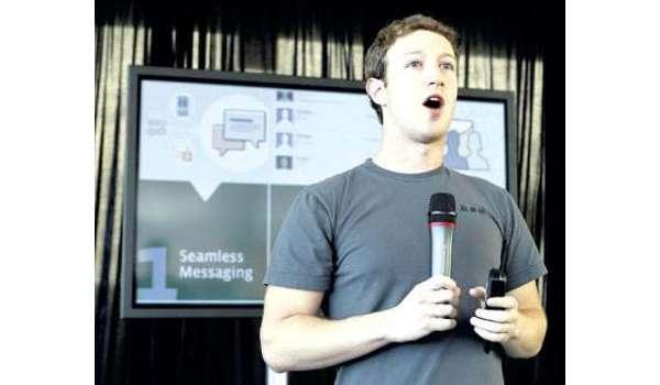 KETUA Pegawai Eksekutif Facebook, Mark Zuckerberg menjelaskan mengenai perkhidmatan mesej terbaru di laman sosial itu di San Francisco kelmarin.