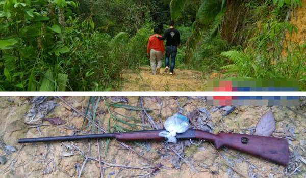 SUSPEK kes tembak dan bunuh yang ditahan (atas) dan senapang patah yang ditemui. FOTO ihsan Polis