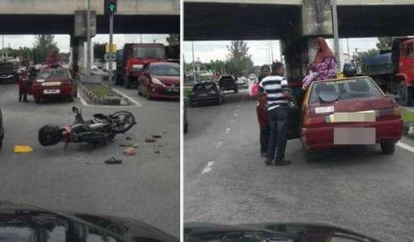 Wanita terduduk atas atap teksi selepas kemalangan