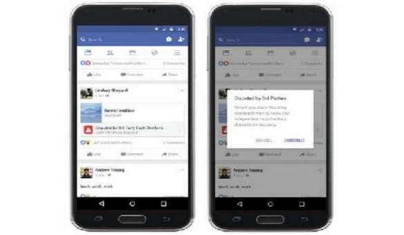 Gambar kombo yang disediakan Facebook menunjukkan beberapa langkah baharu bagi membendung penyebaran berita palsu di rangkaian sosial berkenaan