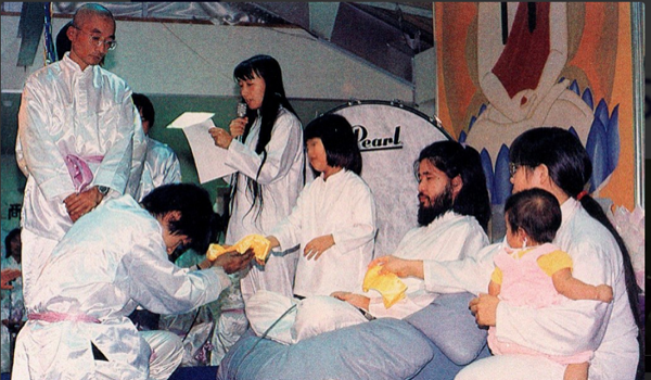 File picture showing members of the Japanese Doomsday cult Aum Shinrikyo.